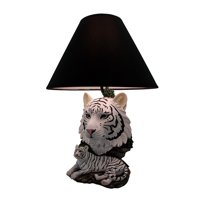 White Lightning Sculptural Tiger Table Lamp w/Black Shade 19 Inch