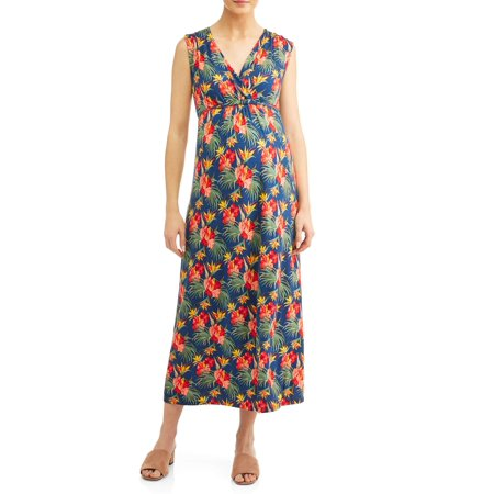 Maternity Waist-Tie Nursing Friendly Maxi Dress