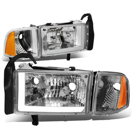For 94 To 02 Dodge Ram 1500 2500 3500 Led Drl Light Bar Headlights Chrome Housing Amber Corner Headlamp 95 96 97 98 99 00 01 Left Right