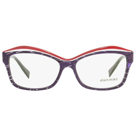 1a158b15f5 Alain Mikli Rectangular Eyeglasses A03042 R891 Size  54mm Violet Red 3042 -  Walmart.com