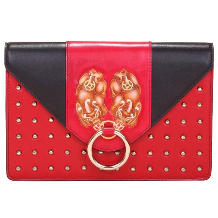 Bellorita Red Hand Tooled and Hand Painted PX (PiXiu) Leather Crossbody Clutch