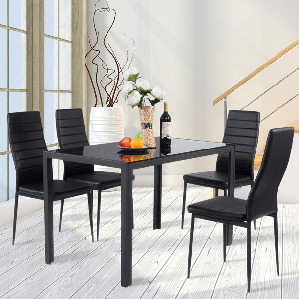Ktaxon 5 Piece Dining Table Set,4 Chairs,Glass Table ...