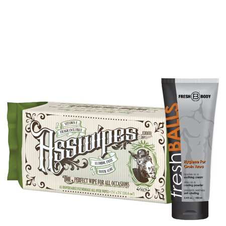Fresh Balls and ASSWIPES The Ultimate Fresh Pack for Men! Flushable Cleaning Hygiene Wipes with Aloe and Vitamin E! The All Over Hygiene Wipe! Alcohol, Paraben, and Fragrance Free for Sensitive