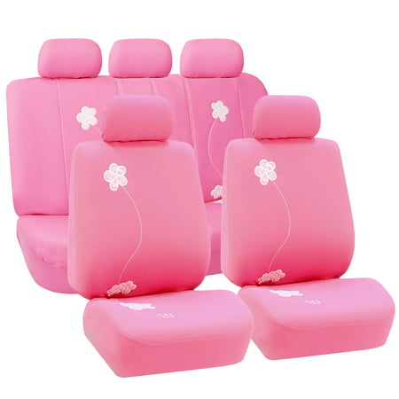 FH Group Floral Embroidery Design Airbag Compatible and Split Bench Seat Covers, Pink