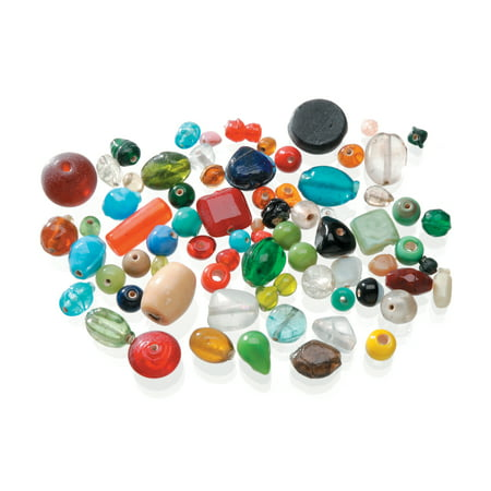 Recycled Glass Beads - Darice Glass Beads in Assorted Shapes, Colors & Sizes , 1 Pound