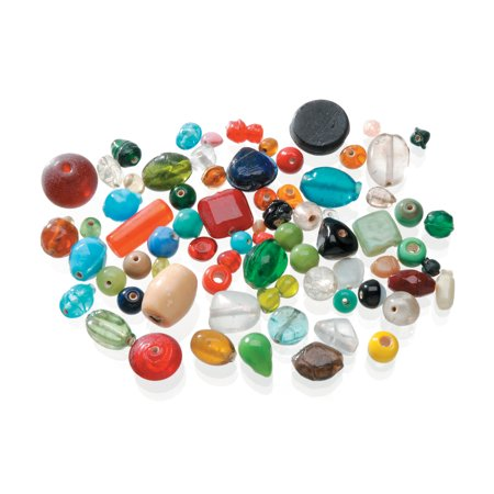 Darice Glass Beads in Assorted Shapes, Colors & Sizes , 1 Pound