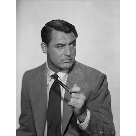 Profile Portrait (Profile Portrait of Cary Grant in Gray Suit with Pipe Photo Print )
