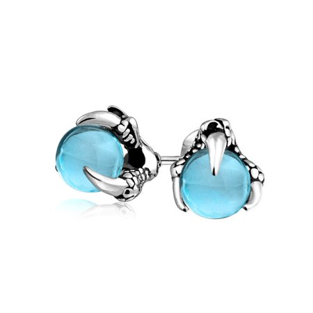 Simulated Blue Topaz Glass Orb Dragon Claw Mens Studs