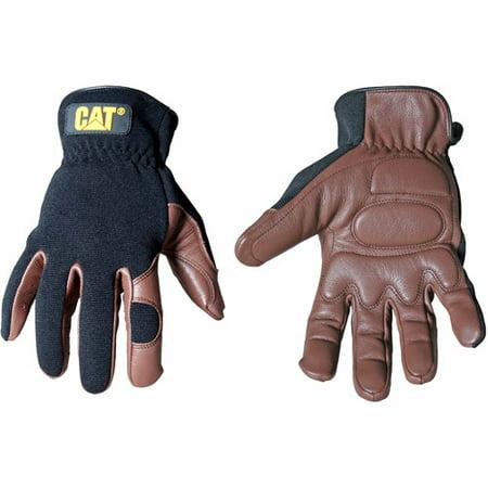 CAT Medium Brown Deerskin and Spandex Gloves