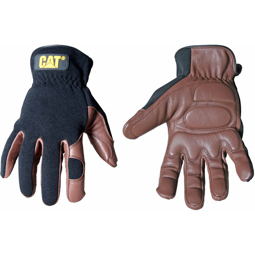CAT Medium Brown Deerskin and Spandex Gloves