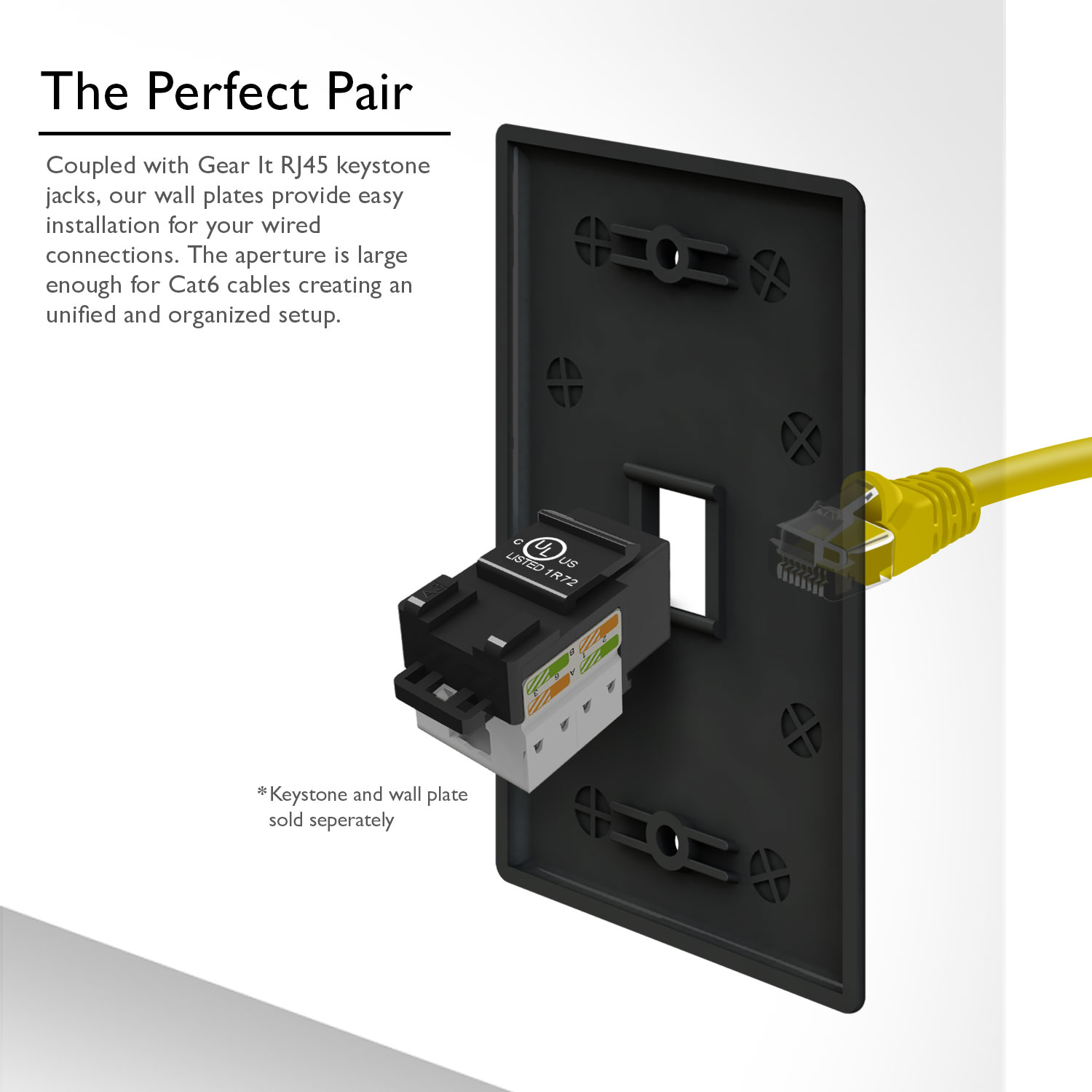 Cat6 Wall Plate And Keystone Gearit 1 Port Ethernet With Jack Wiring Punch Down Connector Black Pack Of 10