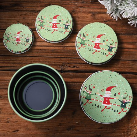 〖Follure〗Tin Container Christmas Jar Gift for Children 4PCS Candy Cookie Storage Box ()