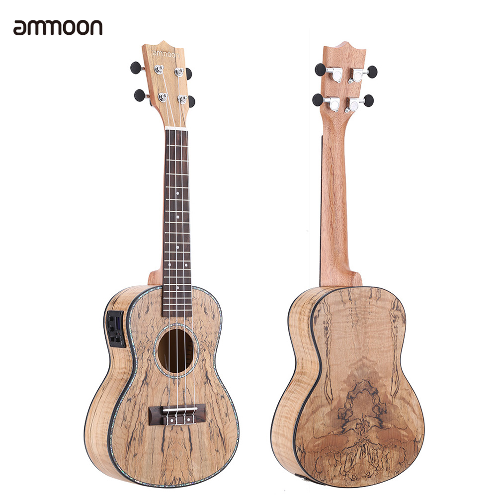 "ammoon 24"" Deadwood(Rare Material)Ukulele with LED EQ Cowry Shell Brims OX Bone... by"