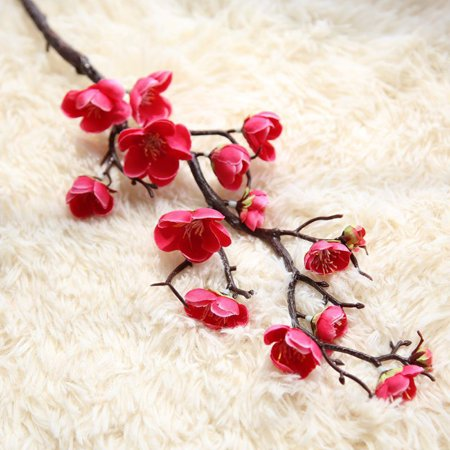 Artificial Silk Fake Flowers Plum Blossom Floral Wedding Bouquet Party Decor - Plum Wedding