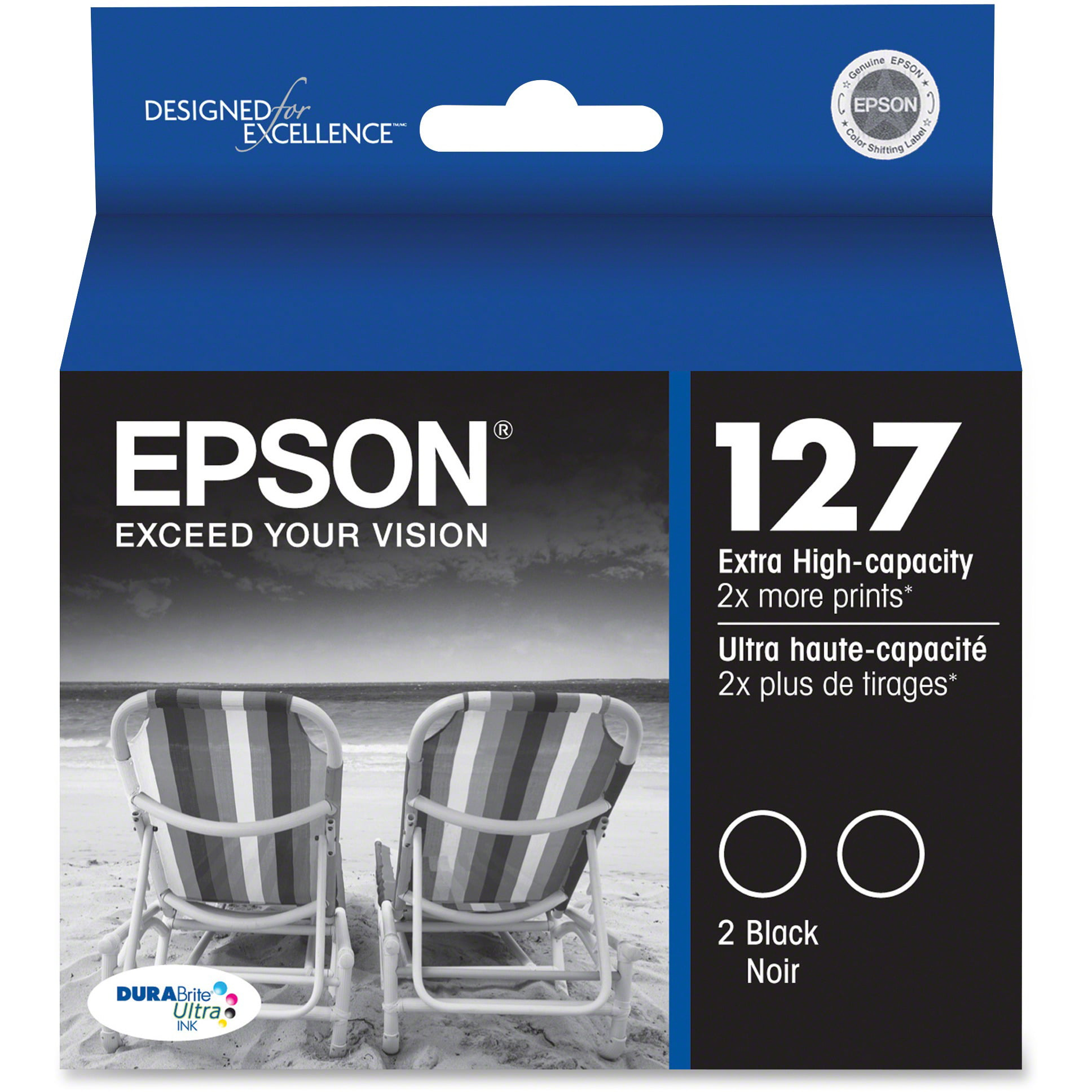 Epson, EPST127120D2, Dual Pack 127 Extra High-Capacity Ink Cartridges, 2   Each by Epson