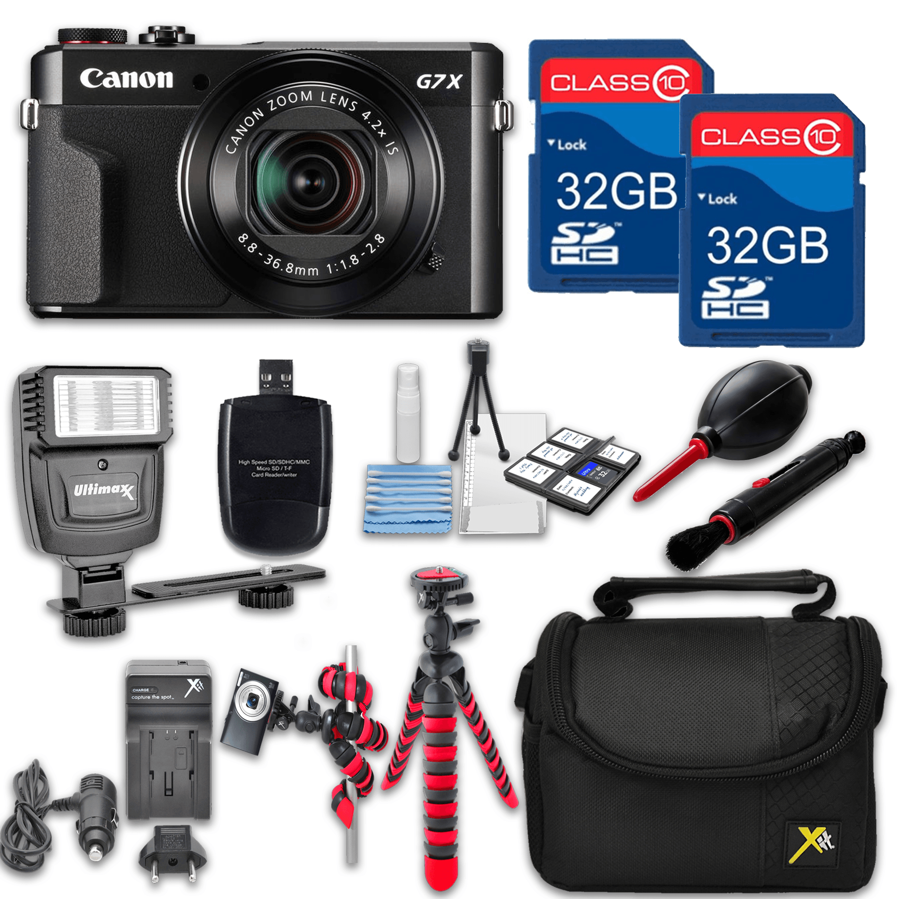 Canon Powershot G7 X Mark II (Black) HS Point and Shoot Digital Camera, W/ Case + 64GB Memory + Flash + Tripod + Case + Cleaning Kit + More