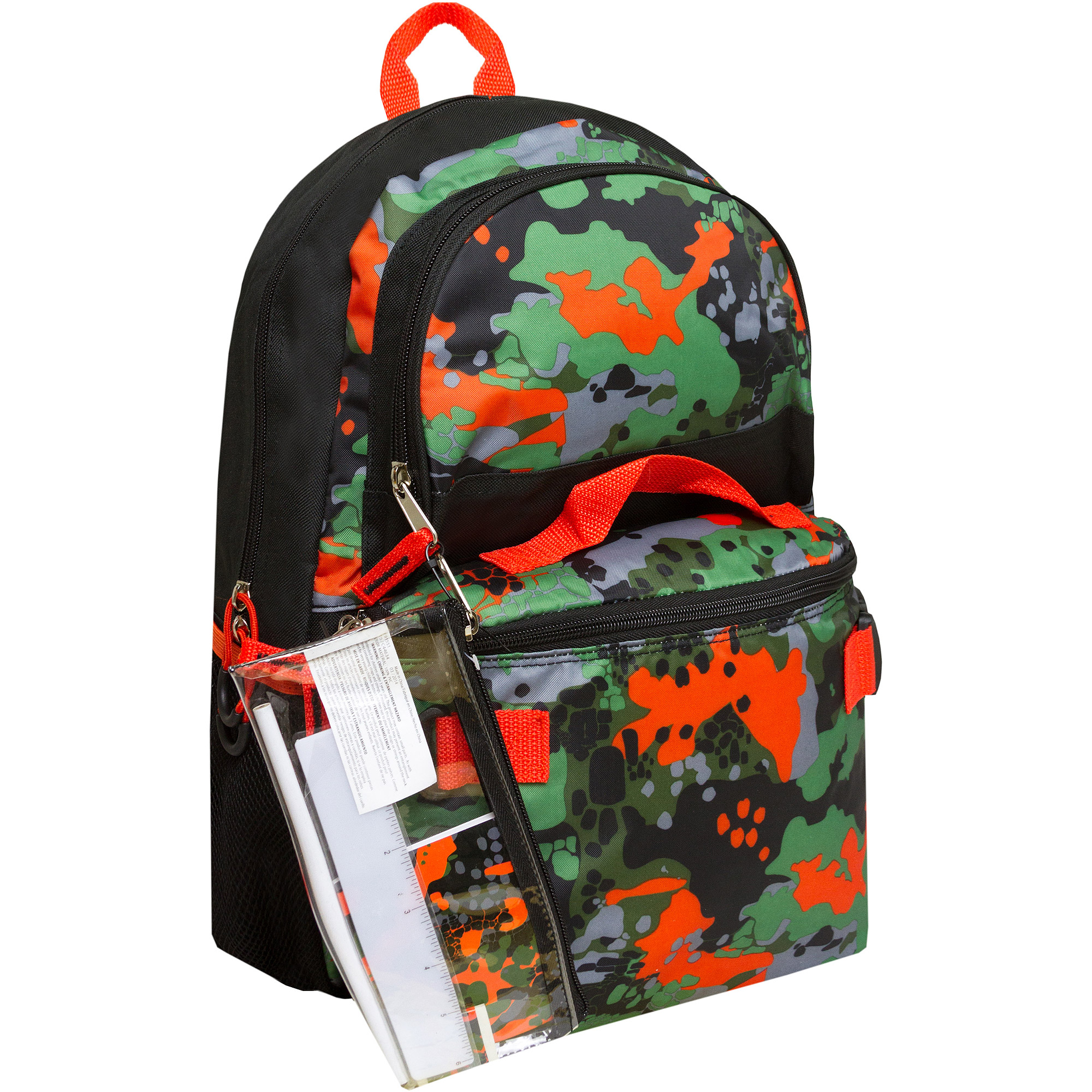 "Triple Pocket 17"" Rainforest Camo Print Backpack with Pencil Case and Lunch Bag"