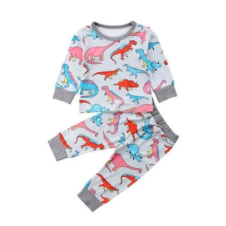 435877306 2Pcs Toddler Kids Baby Boys Girls Outfits Dinosaur Clothes T-shirt  Tops+Pants Set