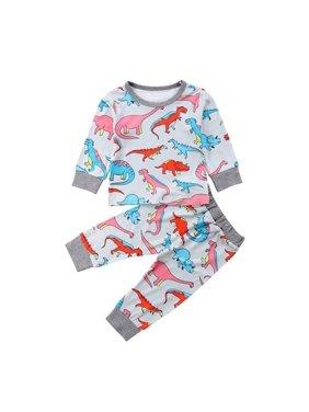 cea2d7e95c27 Product Image 2Pcs Toddler Kids Baby Boys Girls Outfits Dinosaur Clothes  T-shirt Tops+Pants Set