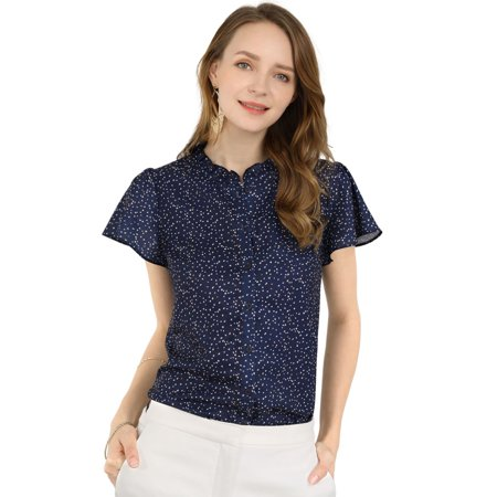 Women's Dot Print Ruffle Sleeve Button Down Blouse Top