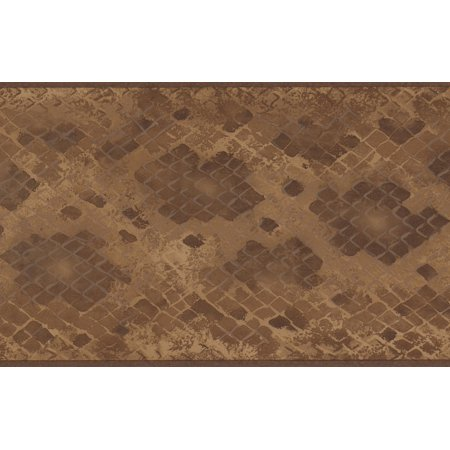 Brown Beige Abstract Wallpaper Border Checkered Geometric Design, Roll 15' x 5.25'' - image 3 of 3