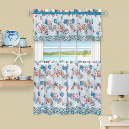 Achim Coastal Tier and Valance Window Curtain Set - Blue