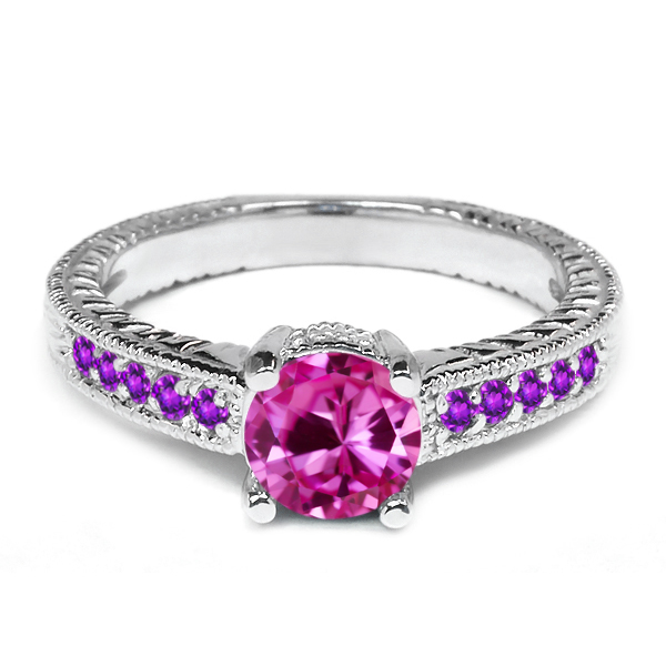 1.20 Ct Pink Created Sapphire Purple Amethyst 14K White Gold Engagement Ring by