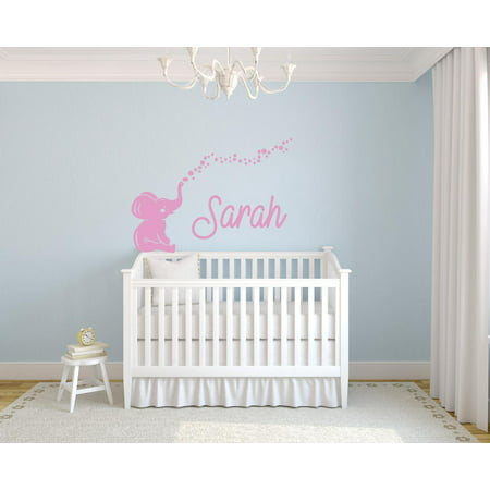 Personalized Name Vinyl Decal Sticker Custom Wall Art Elephant Bubbles Girl Nursery Room Removable Decor Art 16 Inches X 23 Inches ()