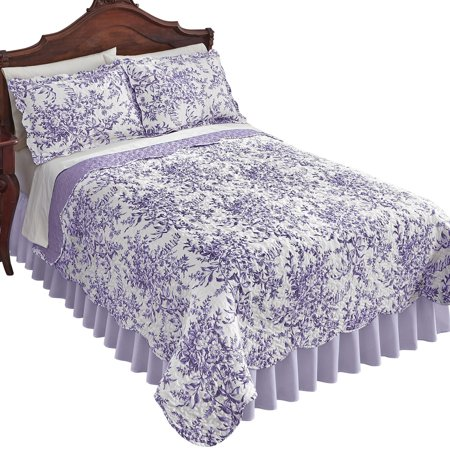Leafy Floral Garden Reversible Quilt - Country Cottage Chic Design, Full/Queen, Lavender