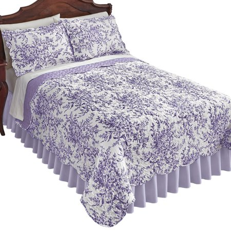 Floral Scallop - Reversible Bedding Quilt in Leafy Floral Garden with Scalloped Edges, Full/Queen, Lavender
