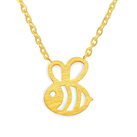 Gold Enameled Bumble Bee - Women Girls Bumble Bee Necklace Cute Insect Charm Pendant Necklace Jewelry (Gold)