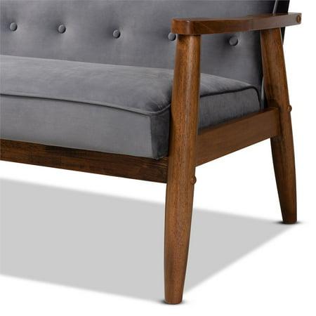 Baxton Studio Sorrento Grey Velvet Upholstered Walnut Wood 3-seater Sofa - image 3 of 9