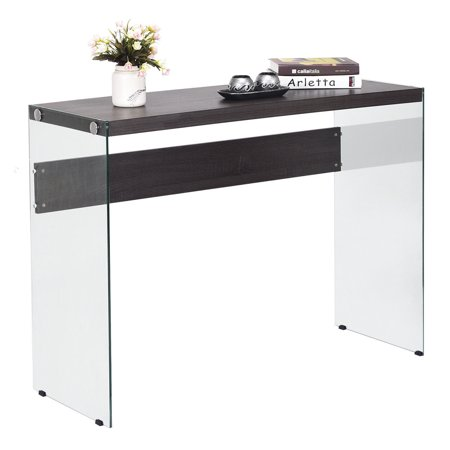 Costway Soho Console Table Wooden Top Tempered Glass Legs Entryway Hallway Furniture New