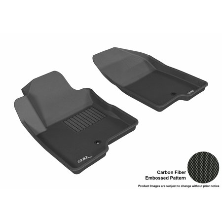 3D MAXpider 2014-2017 Jeep Compass Front Row All Weather Floor Liners in Black with Carbon Fiber Look (Bulb Jeep Compass)