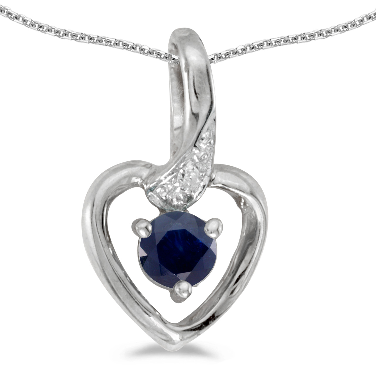 """10k White Gold Round Sapphire And Diamond Heart Pendant with 16"""" Chain by"""
