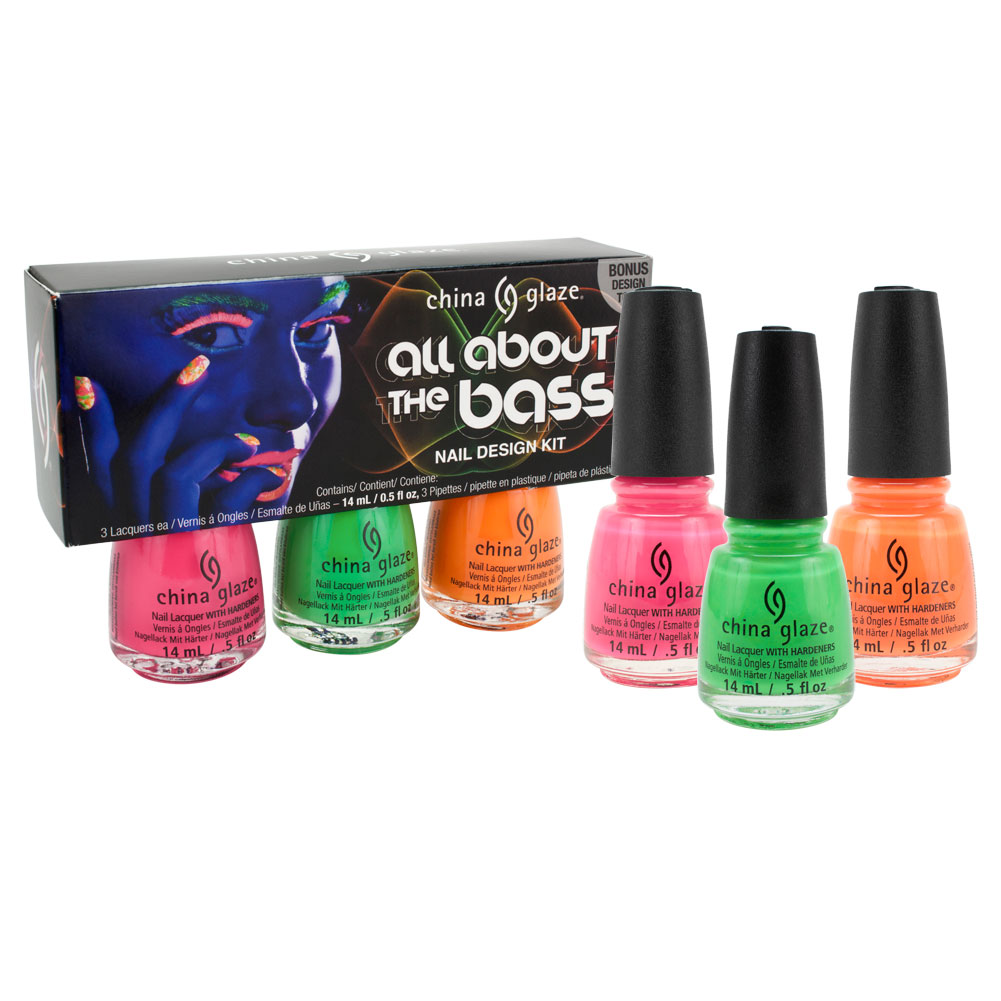 China Glaze .5oz 3 Color Set Nail Polish Lacquer All About The Bass, 82613