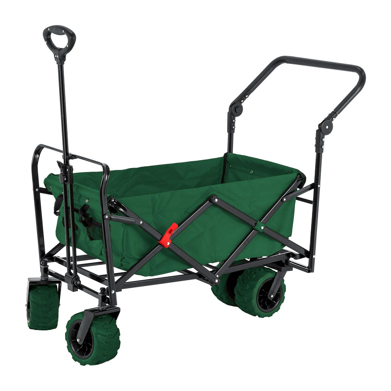 Green Wide Wheel Wagon All-Terrain Folding Utility Wagon Garden Cart Heavy Duty by TCP Global