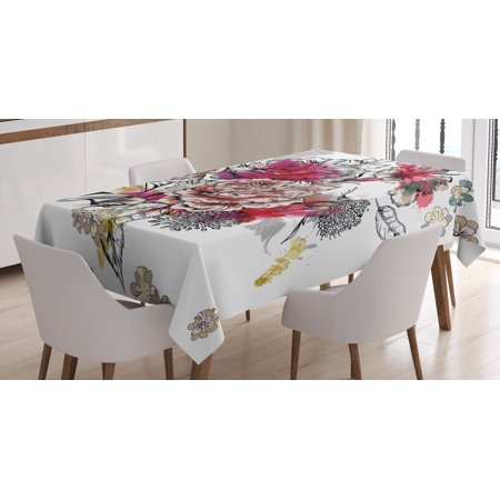 Floral Tablecloth, Romantic Rose Petals Bouquet Bridal Wedding Themed Nostalgic Blooms in Mixed Colors, Rectangular Table Cover for Dining Room Kitchen, 52 X 70 Inches, Multicolor, by -