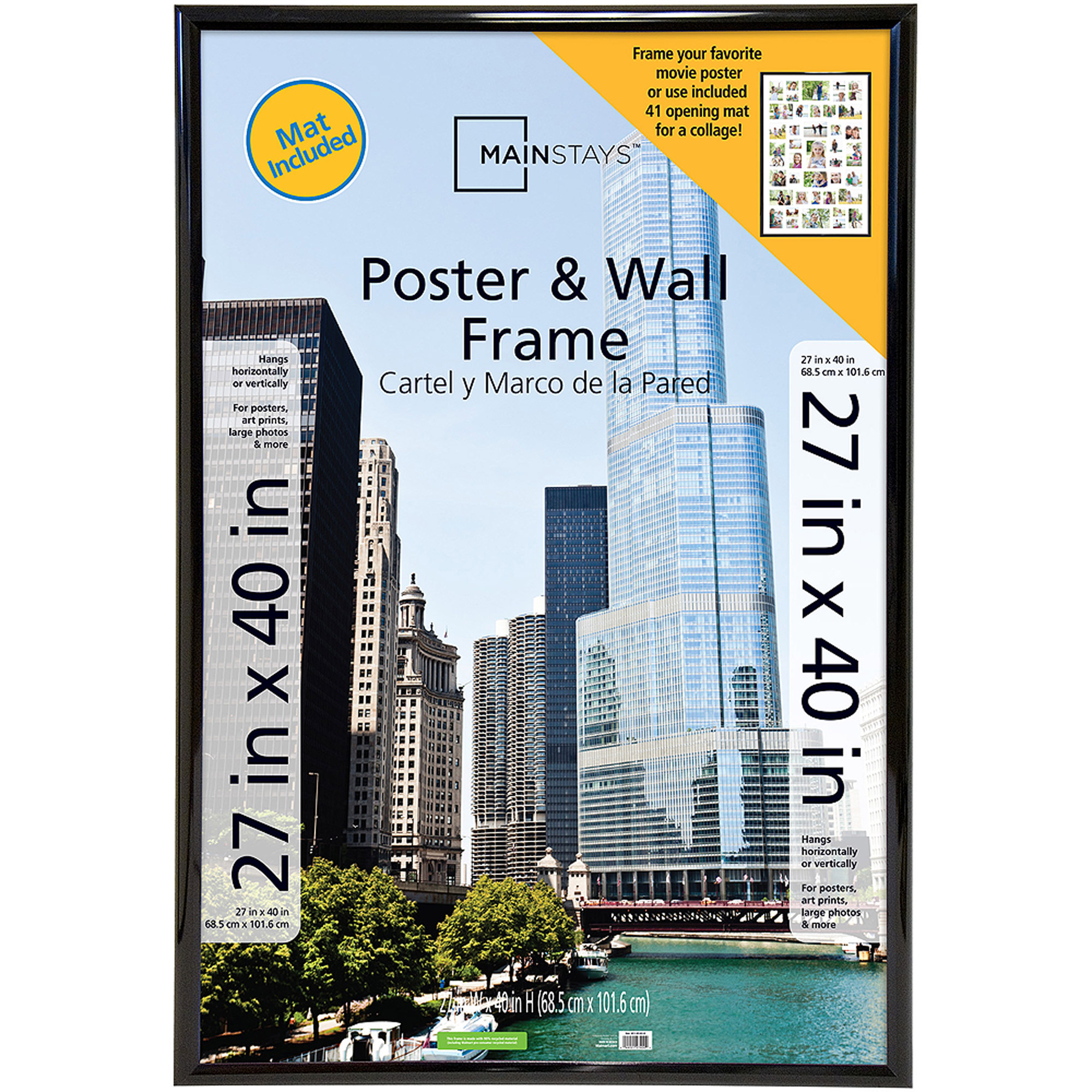 Mainstays 27x40 Trendsetter Collage Poster Frame Black