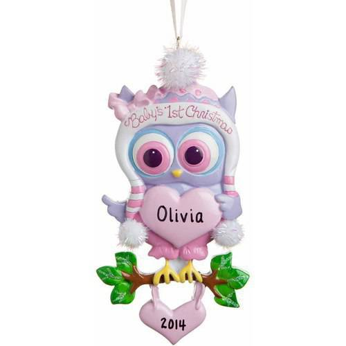 Personalized Owl Baby Girl First Christmas (Girl Personalized Ornament)