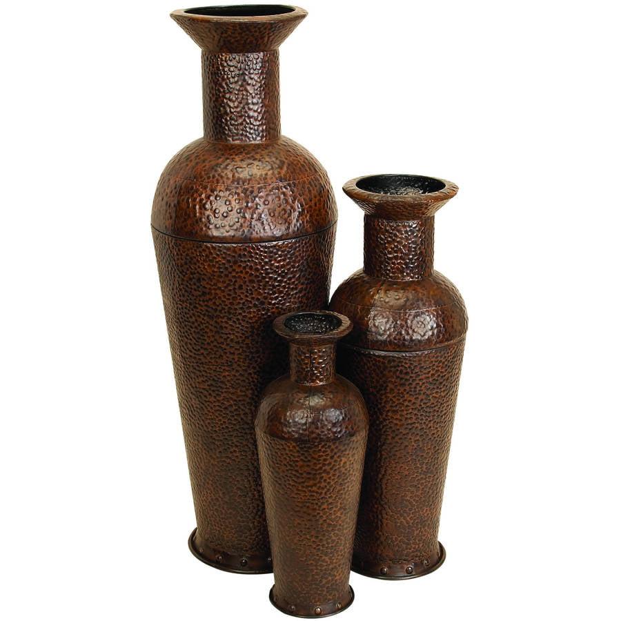 Decmode Large Cylindrical Hammered Metal Silver Floor Vases Set Of 3