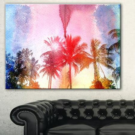DESIGN ART Retro Palm Trees Long View' Landscape Painting Canvas Print - Blue