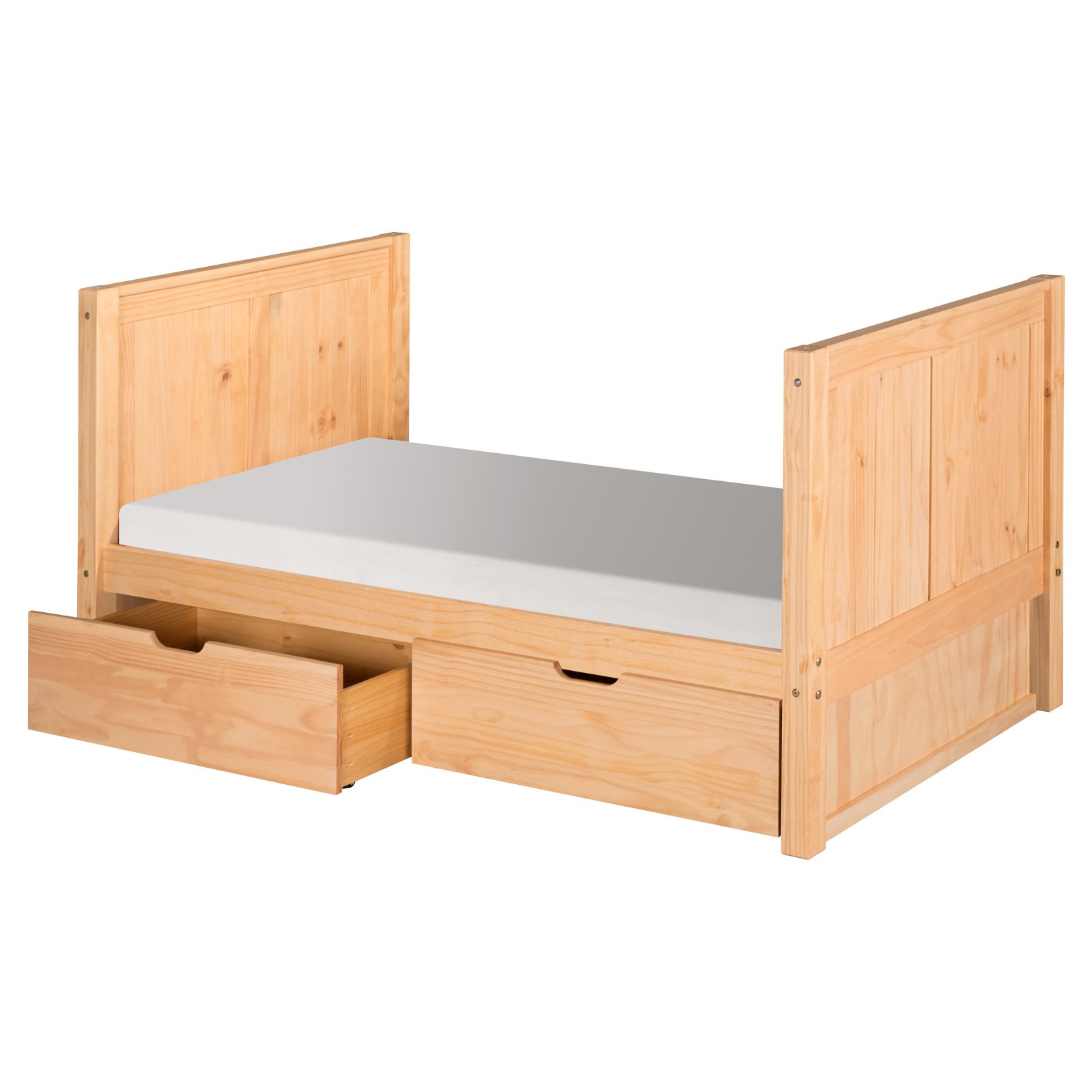 Camaflexi Twin Size Tall Platform Bed with Drawers - Panel Headboard - Natural Finish