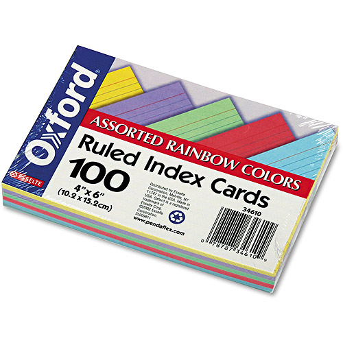 "Oxford Ruled Index Cards, 4"" x 6"", Blue/Violet/Canary/Green/Cherry, 100/Pack"