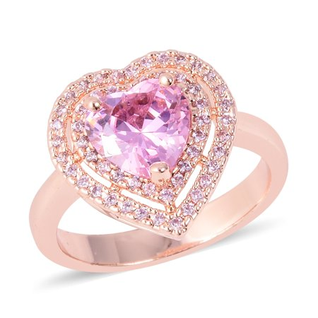 - Rosetone Heart Cubic Zircon CZ Pink Statement Ring for Women Cttw 2.1