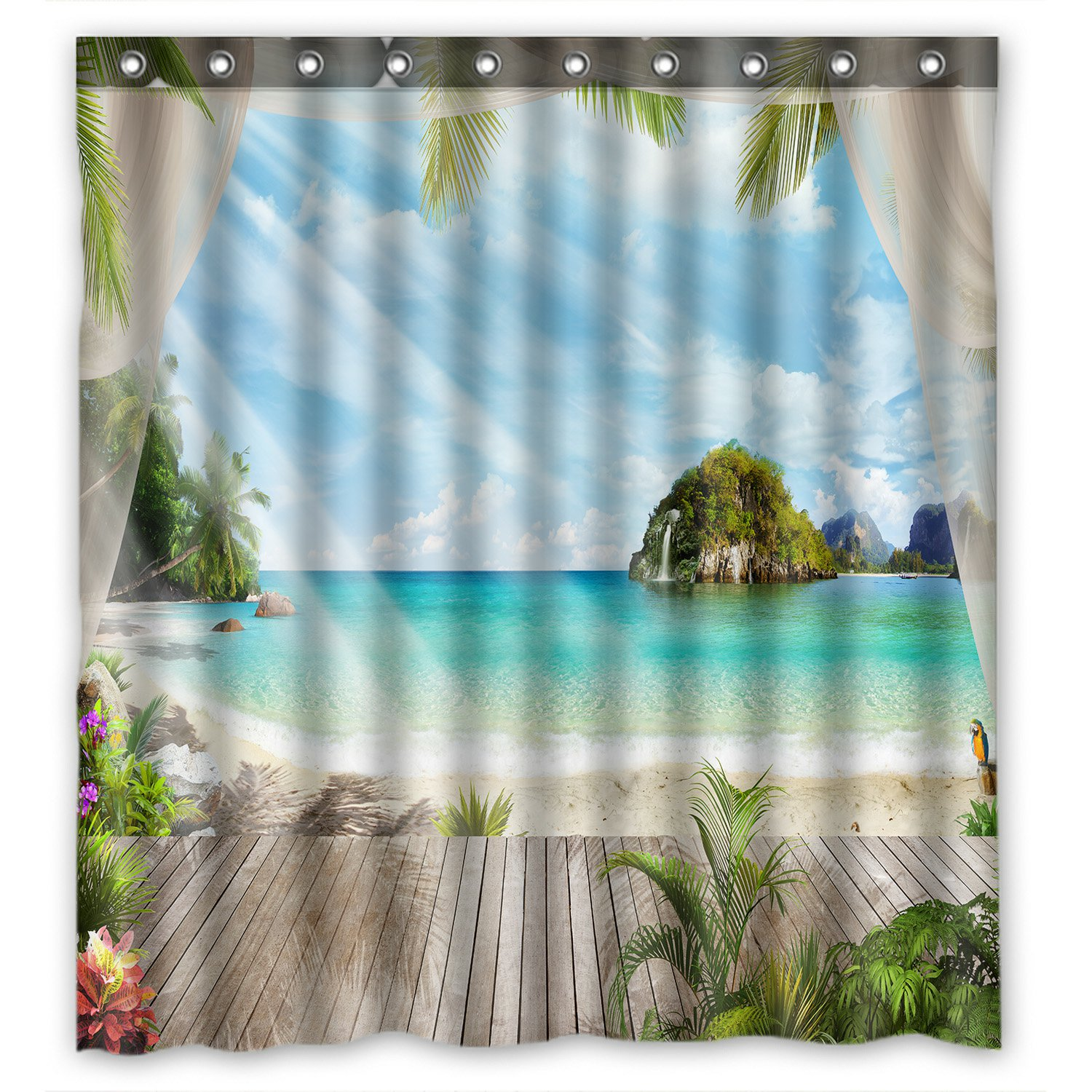 Custom Waterproof Fabric Bathroom Tropical Paradise Beach