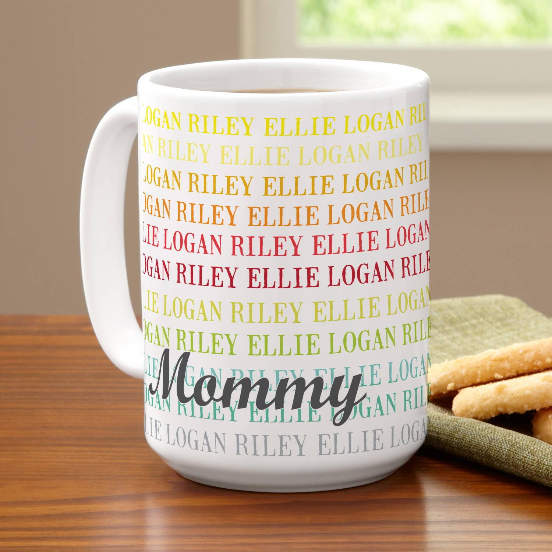 Personalized Colorful Family Names Coffee Mug, 15 oz