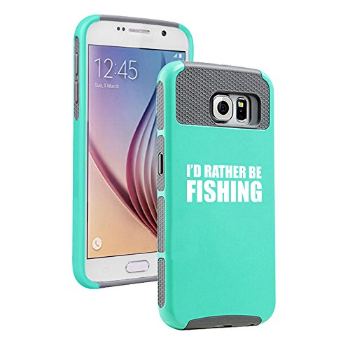 For Samsung Galaxy S7 Shockproof Impact Hard Soft Case Cover I'd Rather Be Fishing (Teal-Gray)