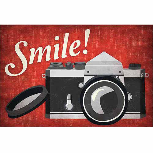 Smile Vintage Camera Vector Illustration Inspirational Typography Red & Black Canvas Art by Pied Piper Creative