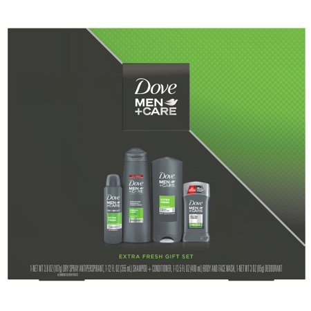 Dove Men+Care 4-pc Extra Fresh Holiday Gift Set (Dry Spray, 2 in 1 Shampoo + Conditioner, Bodywash, Deodorant) (Dove Gift Set Men)